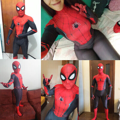 Peter Parker Adult Kids Spider Man Far From Home Cos Costume Spiderman Bodysuit](Adult Spiderman Costume)