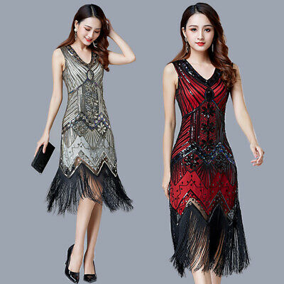 Women Flapper Dress Roaring 20s Gatsby Costume Fringed Sequin Dresses Cocktail - Roaring 20 Dresses