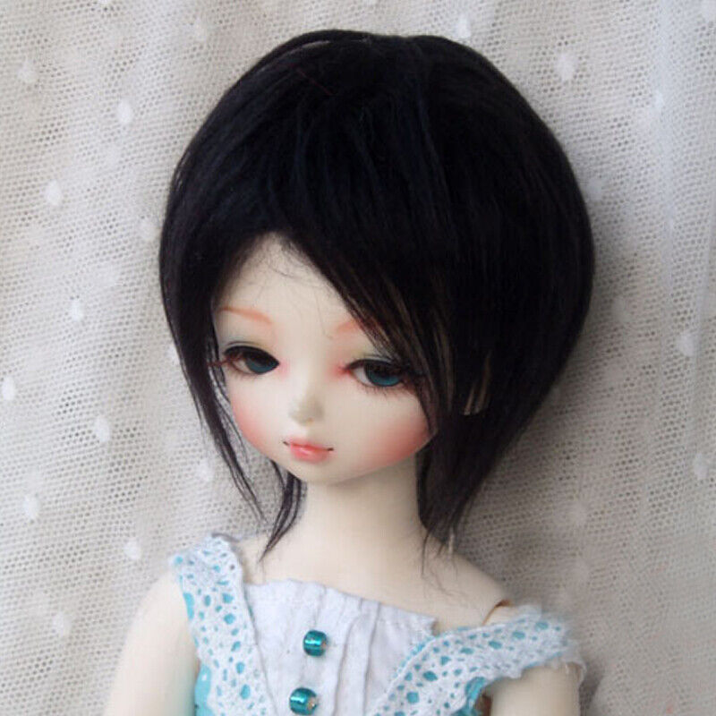 PF New Hot Brown And White Black Wool Short Wig Hair SD DOD 1//6 BJD Dollfie