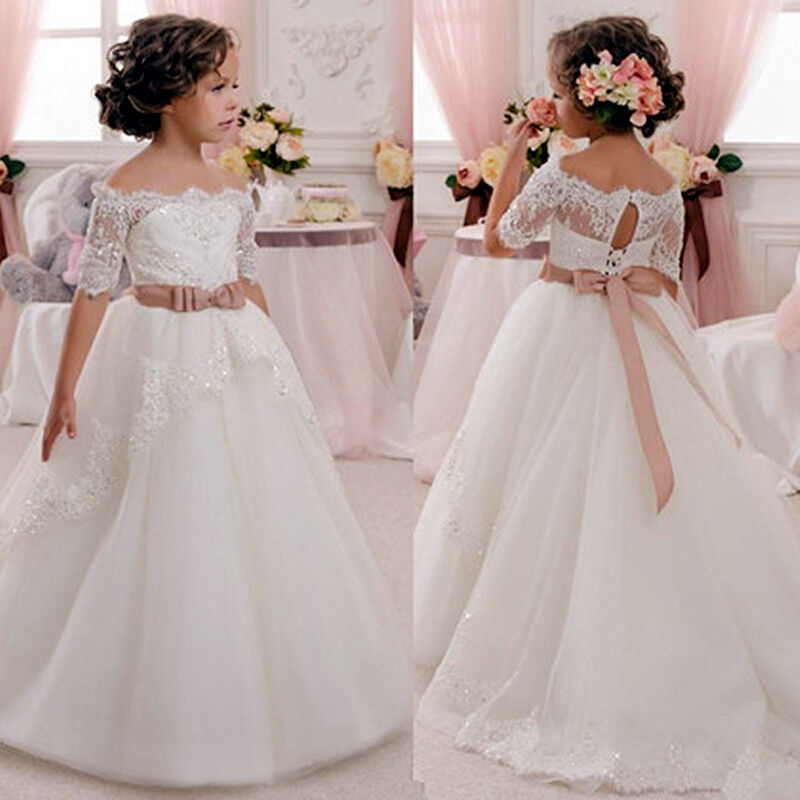 Kid Communion Party Prom Princess Pageant Bridesmaid Wedding Flower Girl Dress