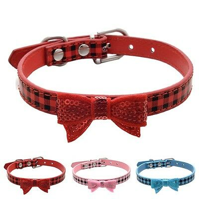 Dog Cat Collar Shine Decor Bow Tie Leather Pet Collar Puppy Choker Cat Necklace