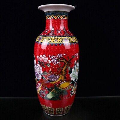 Vintage Chinese Porcelain Vase Marked Circa 1930/'s  17.5 H x 5.3 W