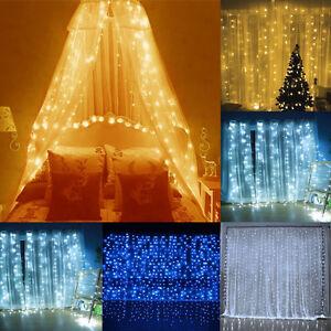 3-metros-x-3-led-Cortina-Cuerda-Luz-Cascada-Fiesta-De-Navidad-Interior-Lamparas