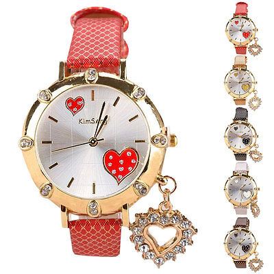 Quartz Wrist Stainless Women Watch Casual Heart Pattern Rhinestones Girl Watches