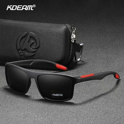 KDEAM Rectangular Ultra Light TR90 Sunglasses Men Polarized TAC 1.1mm Thickness