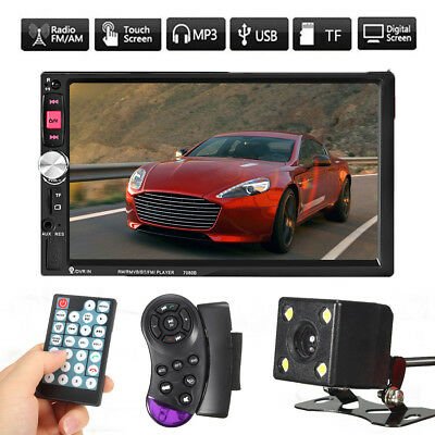 7 Bluetooth Touch Screen Car Stereo Radio 2 Din Mp5 Mp3 Usb Aux Player  Camera