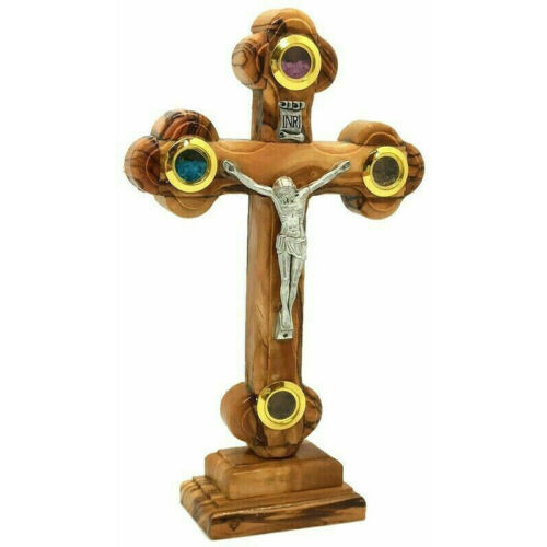 Olive Wood Crucifix Jerusalem Incense Rose Soil Stone Cross Handmade Holy Land