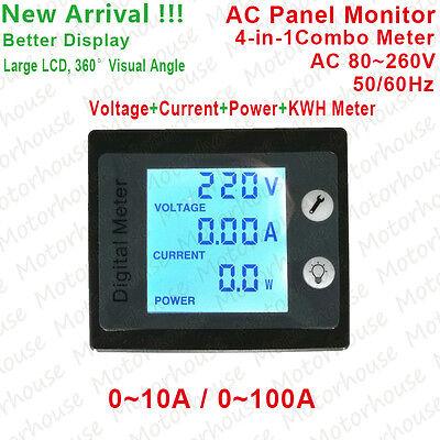 LCD Digital Electrical Combo AC Meter Appliance Power Monitor Volt Amp kWh Watt