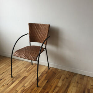 Rattan Wicker Black Frame Chair