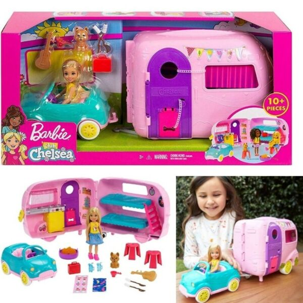 Barbie Club Chelsea Camper Playset with Chelsea Doll, Puppy, Car, Camper, Firepit, Guitar