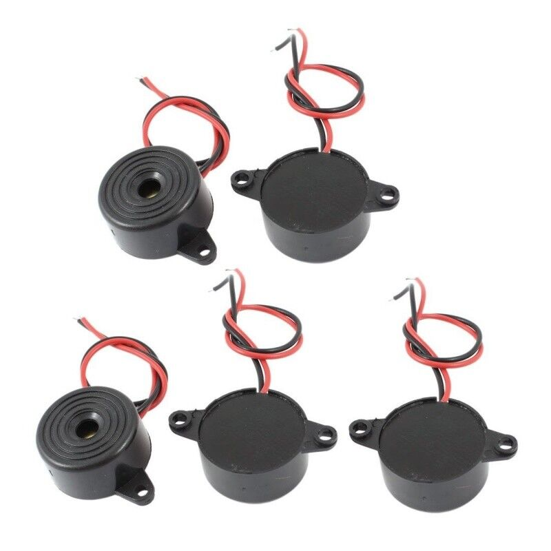 5 Pcs DC 3-24V 85dB Sound Electronic Buzzer Alarm Black 23 x 12mm H9V9 H1
