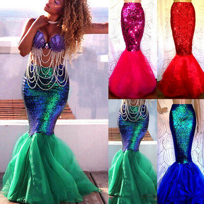 Mermaid Fancy Dress Costume (Womens Adults Mermaid Tail Full Skirt Party Maxi Fancy Dress Cosplay)