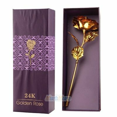 24K Gold Plated Rose Flower Christmas Gift Birthday Romantic Golden Flower w/Box