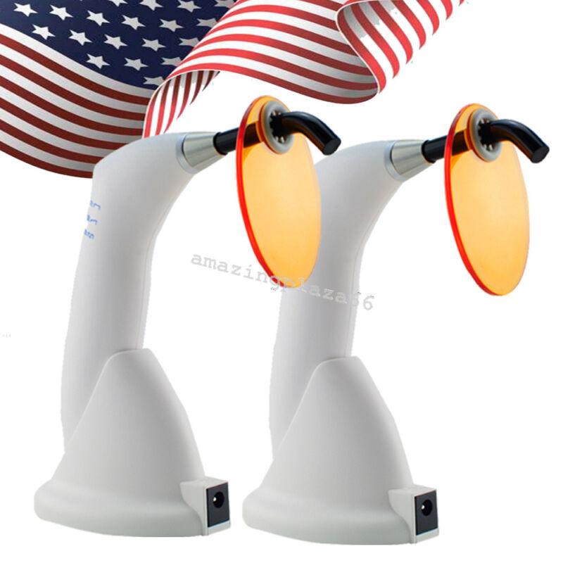 2PCS Dental 5W Wireless Cordless LED Curing Light Lamp 1500mw Gun Type FDA/CE