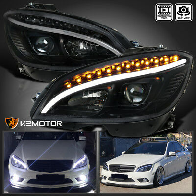 Black 2008-2011 Mercedes W204 C-Class LED Strip Signal Projector Headlights Pair