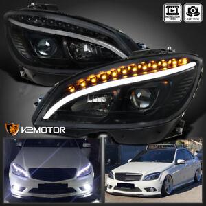 2008-2011 Benz W204 C-Class Black DRL Strip LED Signal Projector Headlights Pair