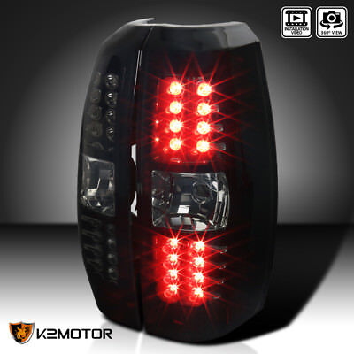 [Glossy Black] 2007-2012 Avalanche Pickup LED Brake Lamps Tail Lights Smoke Lens
