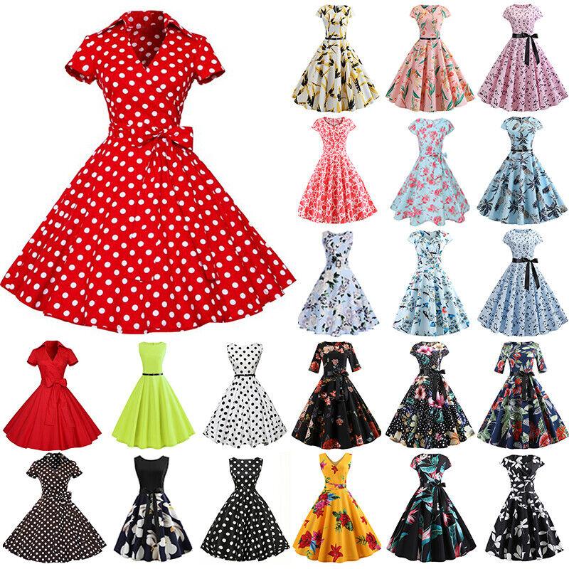 Damen Rockabilly 50er Petticoat Vintage Hepburn Partykleider Cocktailkleid Kleid