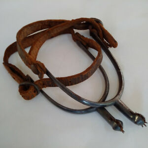 Vintage Pair Equine Equestrian Boot Spurs with Leather Straps