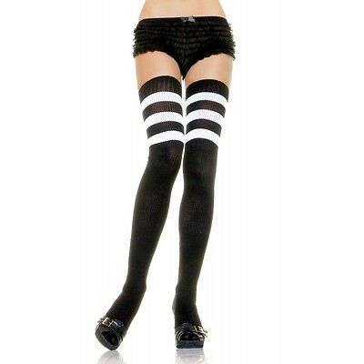 Women Black White Stripe Athletic Thigh High Socks Referee Halloween Costume](Athletic Halloween Costumes)
