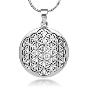 Flower of life pendant ebay silver flower of life pendant necklace sacred geometry mozeypictures Gallery