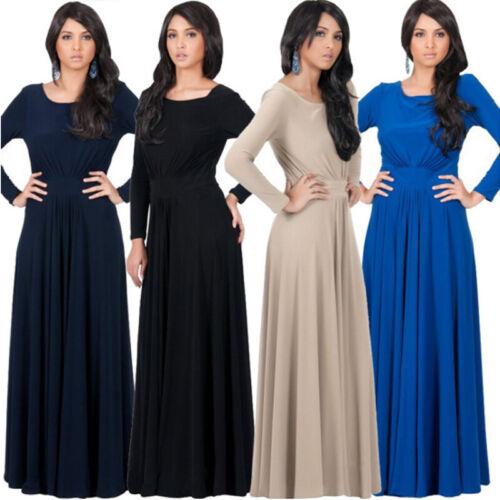 Damen Abendkleid Langarmkleid Festlich Kleid Lang Kleider Cocktailkleid Gr.36-44