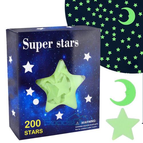 Home Decoration - Ultra Glow in the Dark Stars; 200 Count w/ Bonus Moon