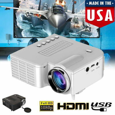 Mini Wired Projector HD 1080P Portable Home Theater LED VGA USB HDMI 110-240V US