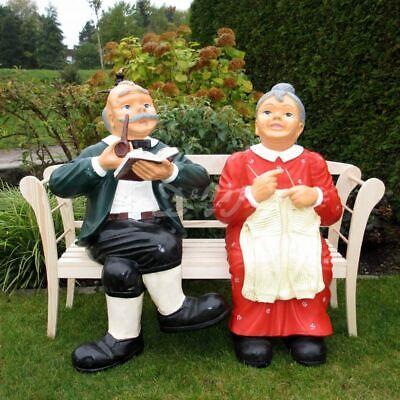 XXXL OMA & OPA auf Holzbank lebensgroß Gartenbank Deko Garten Figuren Großeltern ()