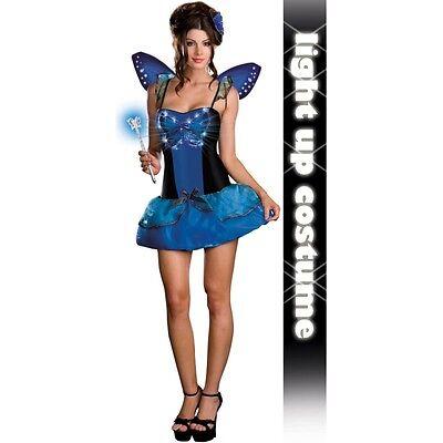 Lady BUTTERFLY Costume FO Light up Dress Wings Wand Adult Medium 6 8 10 Mariposa ()