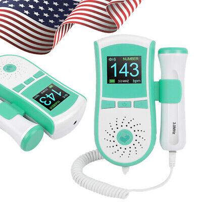 Fetal Doppler Baby Heartbeat Detector Ultrasonic Monitor Prenatal 3mhz Probegel