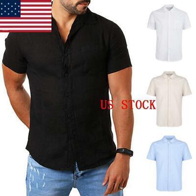 Mens Summer Casual Short Sleeve Linen Collar Shirts Button Down Beach Top Tee