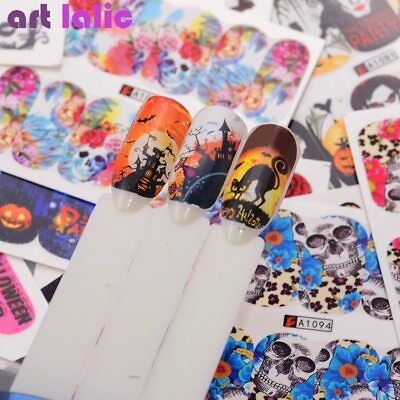 48 DIY Halloween Ghost Pumpkin Skull Nail Art Water Transfer Sticker Decal Set