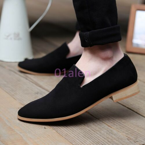 Mens Velvet Leisure Faux Suede British Flat Oxford Slip On loafers Pointed Toe