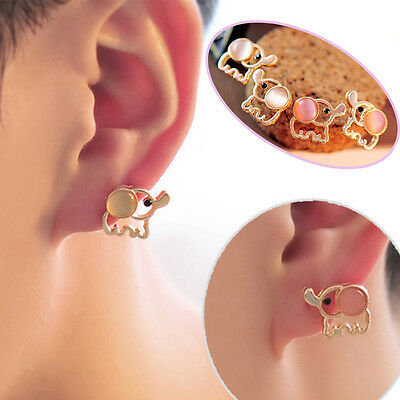 Fashion Lovely Baby Elephant Cat Umbilicaria Crystal Ear Stud Earrings Jewelry - Baby Cat Ears