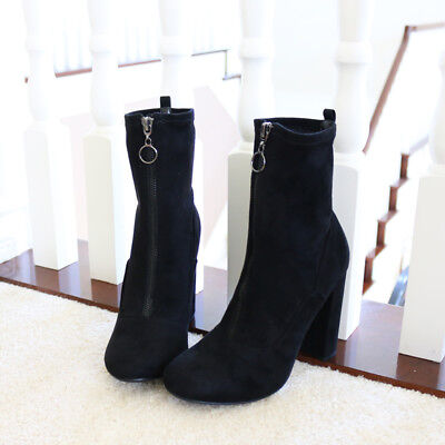 Subtly Edge Stretch Micro Suede Ankle Boots Booties Block Heel Pewter Front Zip