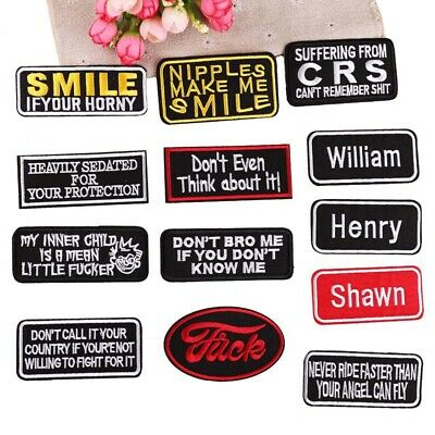 Embroidered Patch Name Tags Iron on Badges Rectangle Badge Jacket Hat Bag -