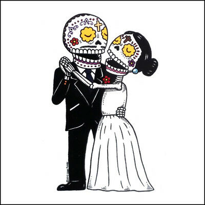 Bride and Groom - Weather Proof Die Cut Vinyl Day of the Dead - Day Of The Dead Groom