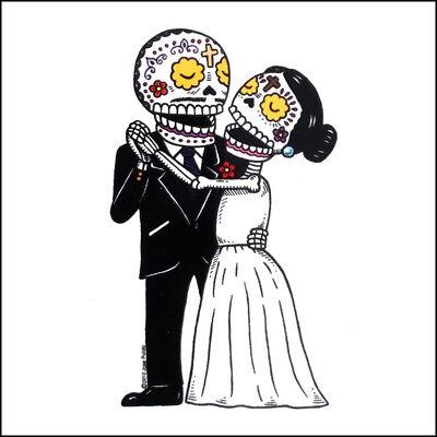 Bride and Groom - Weather Proof Die Cut Vinyl Day of the Dead Sticker - Day Of The Dead Bride And Groom