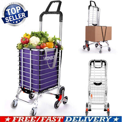 Heavy Duty Foldable Aluminum Shopping Cart Portable Hand Truck With Canvas Bags