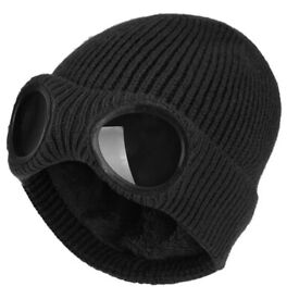 CP company style knitted beanie hat with goggles