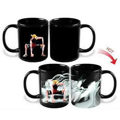 new Anime One Piece Luffy Heat Reactive Color Change Ceramic Coffee Cup Mug Gift