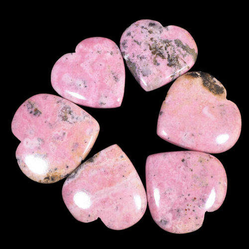 6 Pcs Natural Rhodonite 32.5mm-35mm Heart Shape Top Quality Beautiful Gemstones