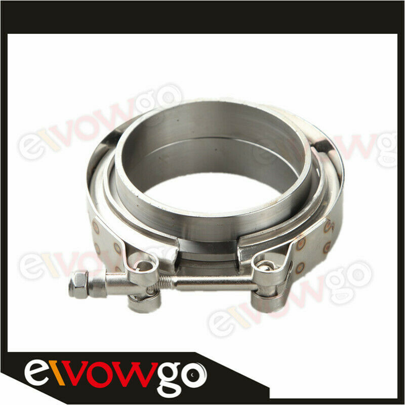 """3.5/"""" V-Band Vband Clamp CNC Stainless Steel Flange Kit Turbo Downpipe Exhaust"""