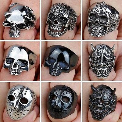 Men's Titanium Steel Fashion Gothic Punk Skull Head Biker Finger Rings Jewelry