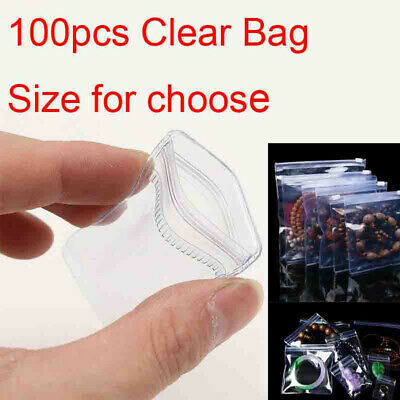 100pcs Pvc Anti-oxidation Clear Plastic Bag Zip Lock Jewelry Packaging Pouch Cp
