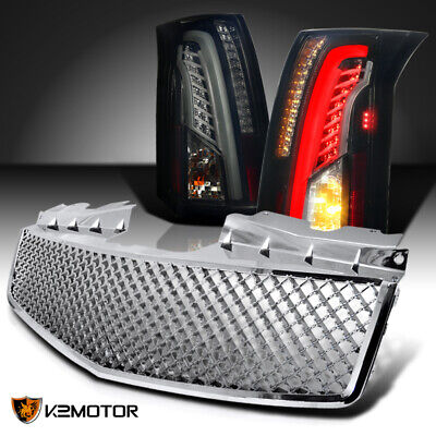 For 2003-2007 Cadillac CTS LED Bar Glossy Black Smoke Tail Lights+Hood Grille