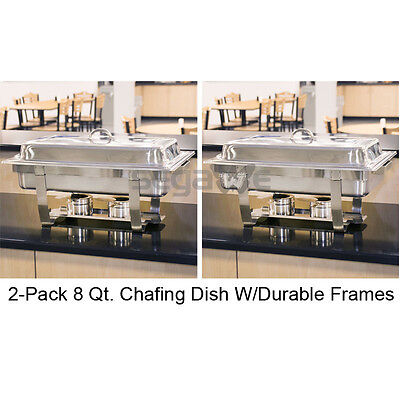 Set of (2) Full Size Rectangular 8 Qt. Stainless Steel Chafing Dish Buffet Tray ()