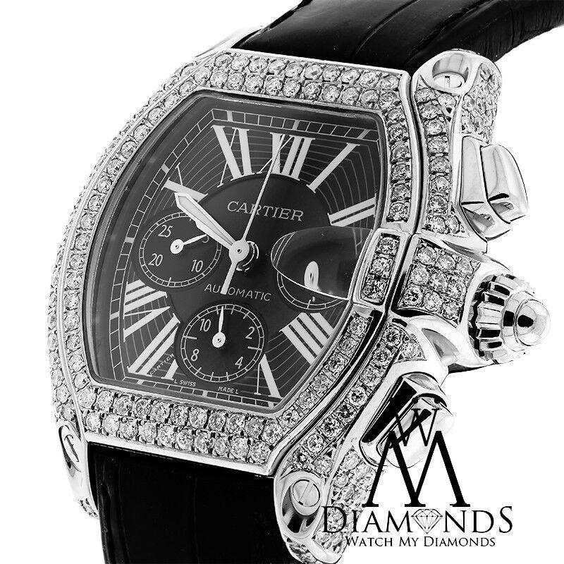 Cartier Roadster W62020X6 XL Chronograph Diamond Case Black Dial on Black Strap - watch picture 1