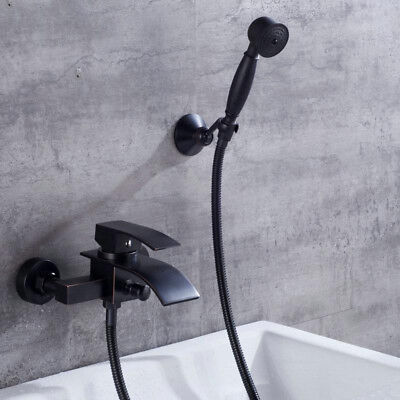 Waterfall Black Bathroom Wall Mounted Bath Tub Shower Mixer Faucet Taps Kit Bath Shower Mixer Kit